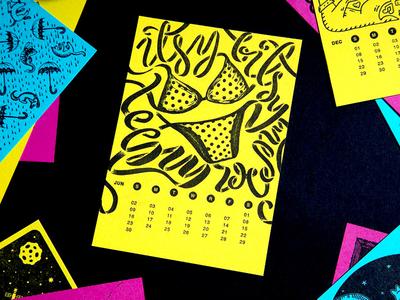 June: The First Month Of Summer Letterpress Illustration