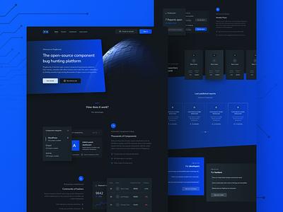 Landing page | PlugBounty modern clean graphics application sketch dark mode dark ui ux ui design lknet plug bounty dashboard mobile web landing page