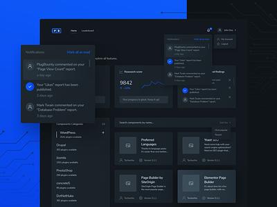 App dashboard | PlugBounty lknet web design cleaning ux ui dark mode dark ui clean modern plug bounty application app dashboard