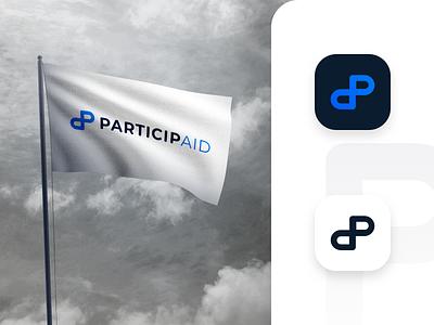 ParticipAid logo redesign tshirt flag minimalism lknet monogram symbol infinity brand icon letter p clean modern logotype logomark logo