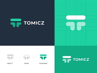 Tomicz Branding letter t typography t logo simple monogram modern mark icon logotype logo green agency development design branding baseball arrows
