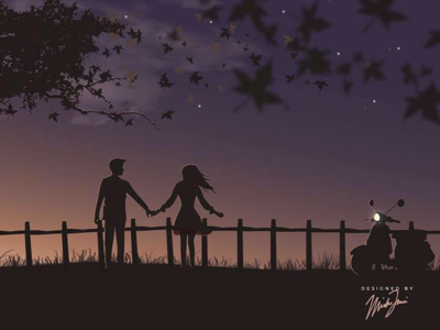 A view tailormade for two heart amore perfect moon light vespa illustrator star view illustration love photoshop