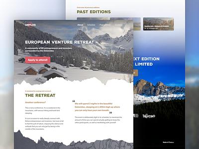 Landing page - UNPLUG landing page design web design ux ui website mountains homepage