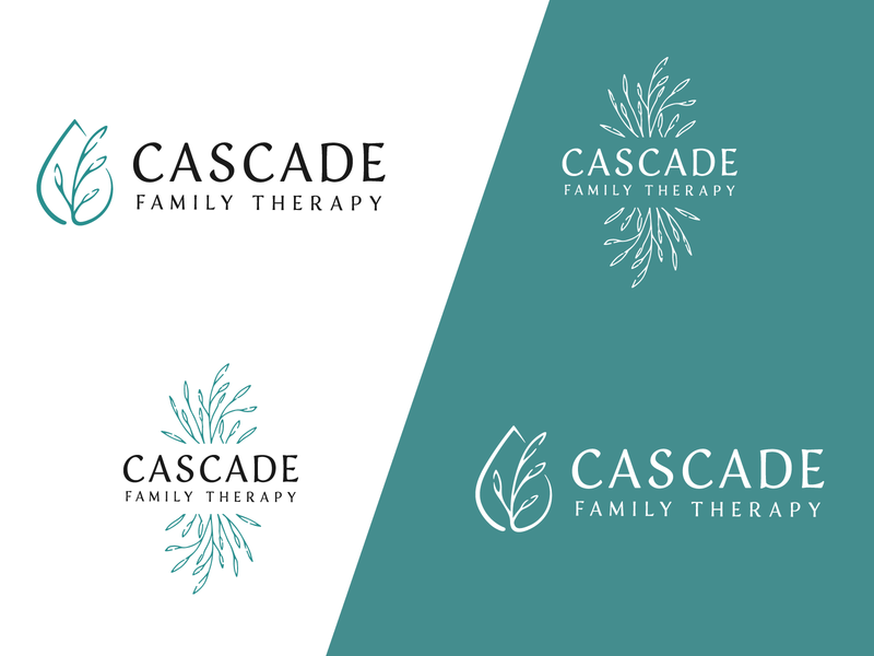 Cascade Family Therapy Branding teal branches water natural logo branding