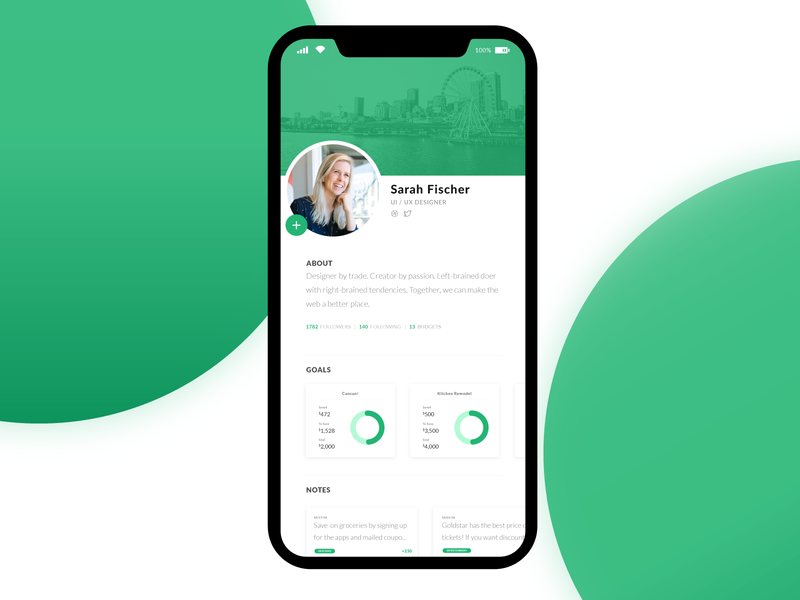 Daily UI 006 - User Profile iphone budget app green user interface adobe illustrator daily ui