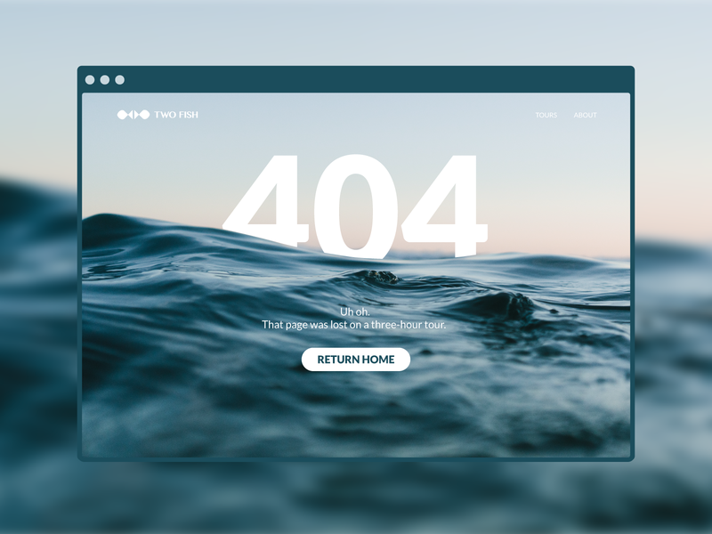 Daily UI 008 - 404 Page 404 nature 404 page web browser blue water daily ui 008 dailyui adobe illustrator
