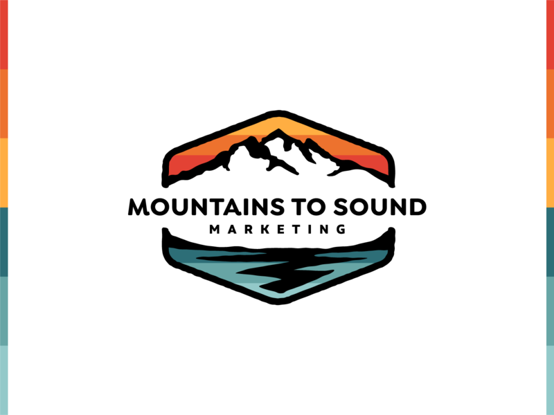 Logo - Mountains To Sound Marketing adobe illustrator visual design colorful wordmark retro rainbow color mountains logo marketing