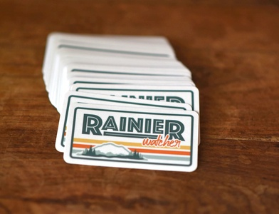 Rainier Watcher Stickers rainier watcher sage green orange yellow sticker illustrator rainier watch mount rainier retro desaturated