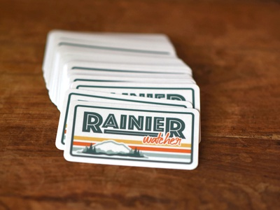 Rainier Watcher Stickers rainier watcher sage green orange yellow sticker illustrator rainier watch mount rainier retro desaturated