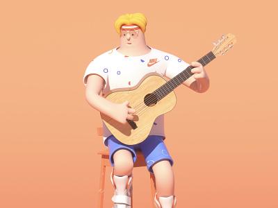 Play the guitar c4d