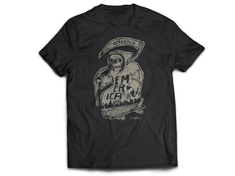 forever rollin for Emerica reaper design shirt tee emerica