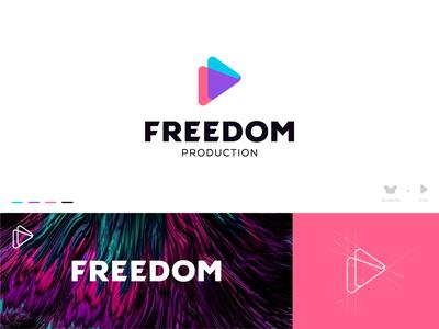 Freedom Logo logo mark mark illustration identity colors bird mark butterfly mark butterfly logo movies cinema production logo play button movie mark