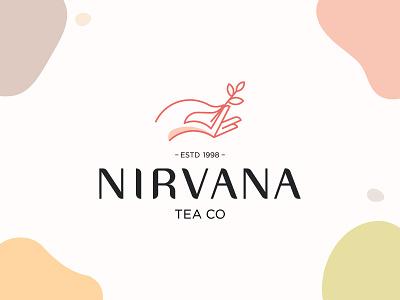 Nirvana Tea illustraion typography symbol mark branding illustration meditation chin mudra hand logo mark hand mark nirvana mark nirvana logo mark tea logomark tea mark tea logo hand logo nirvana logo nirvana tea