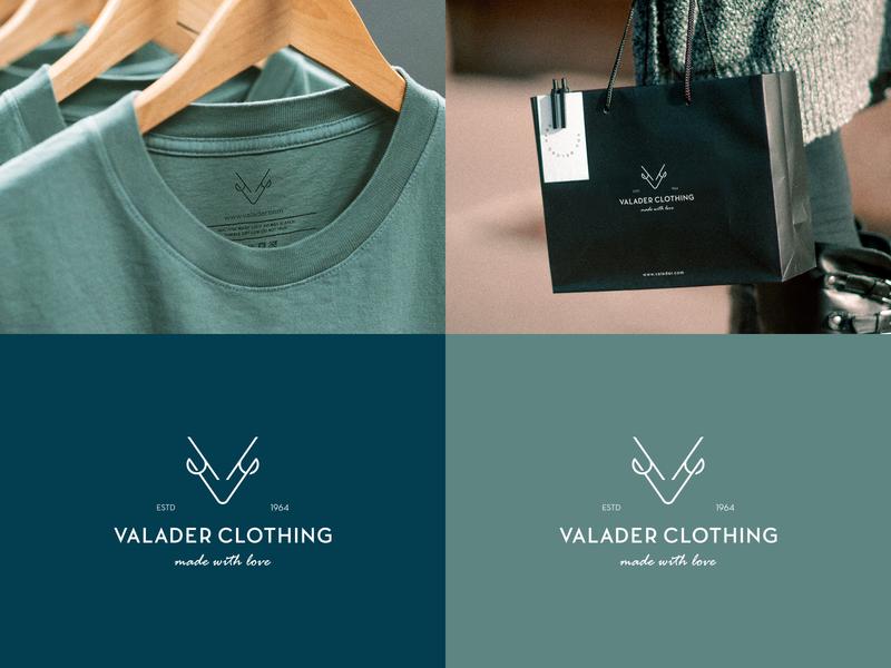 Valader Clothing Logo typography symbol illustration identity branding v logo v mark clothing logo vintage logo clean logo minimal logo minimalist logo animal mark clothing brand deer logo