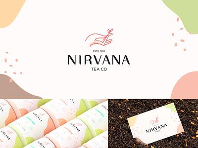 Nirvana brand identity cafe branding letter mark mark identity branding package leaves tea company creative hand vibe nirvana retro coffee tea cafe minimal abstract repost