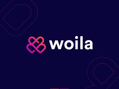 Woila brand identity branding mark logotype minimal w w logo abstract logo lettermark logo logo design clever simple cute bold app couples love technology abstract