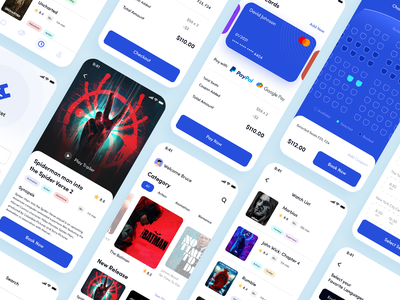 Movie Booking App ticket booking ticket app mobile applicaation product interaction cinema clean creative mobile app application ux design ui design ux ui ios online booking movies booking app movie app