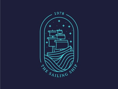 The Sailing Ship hipster night 1978 wind water ships boats ship shipping sails logo sailing