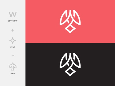 W+Star+Bird evolution bird mark illustration logo mark upward bird logo star logo w logo