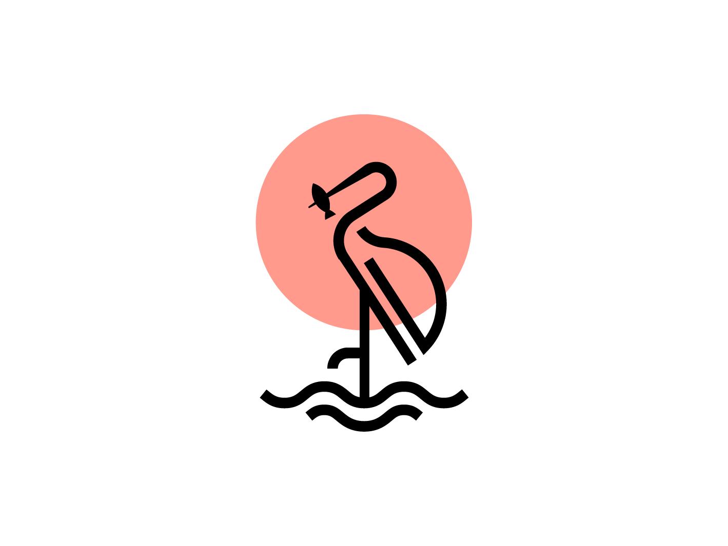 Crane bird logo fish logo line symbol branding color birds logo logo illuatration line art sun bird mark crane mark crane logo