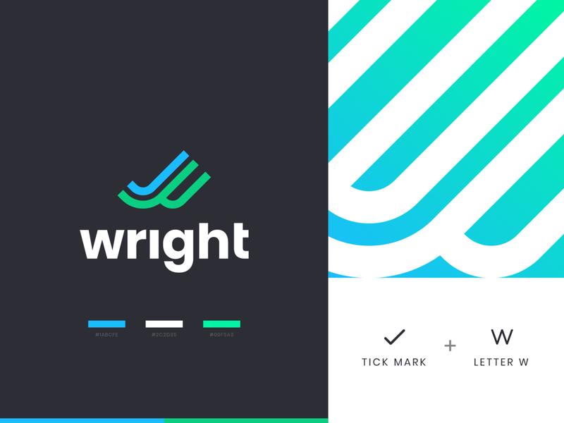 Wright icon symbol mark identity illustration branding illustraion tick logo tick branding w logo right mark gradient w mark tick mark wright