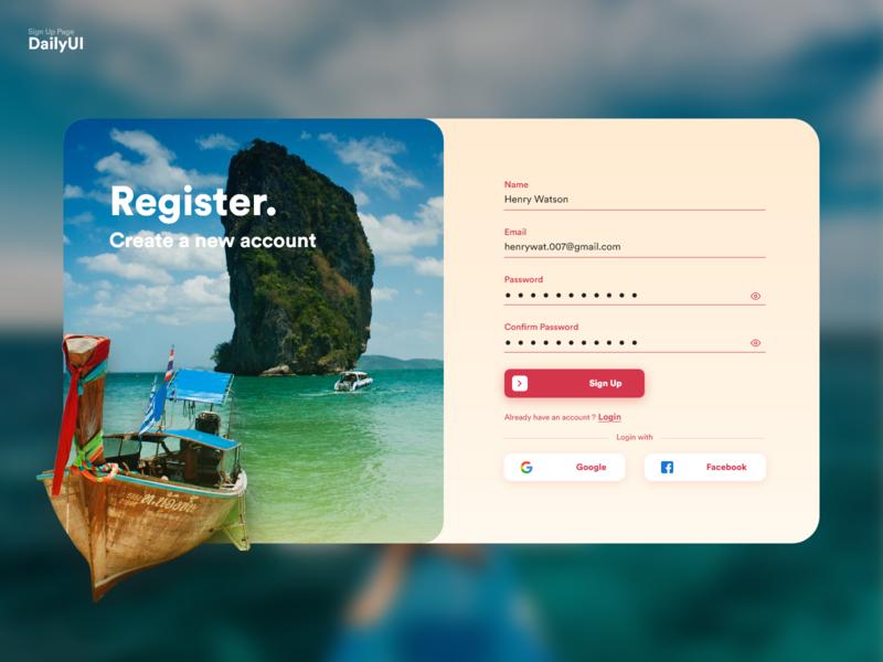 001 Sign Up travel app registration page colours almatho visual design ui uidesign dailyui001 001 dailyui signup