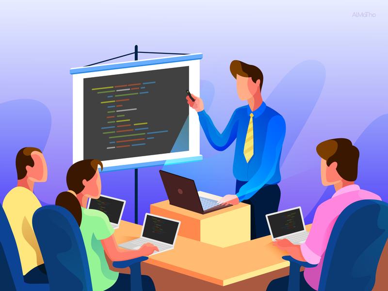 Mr. Trainer header illustration web illustration training almatho character design website character vector cool colours visual design illustration
