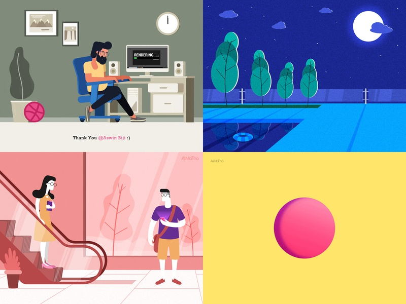 My Top 4 Shots from 2018 :) cool gif series almatho animation character design character vector colours visual design illustration best review 2018 top4shots