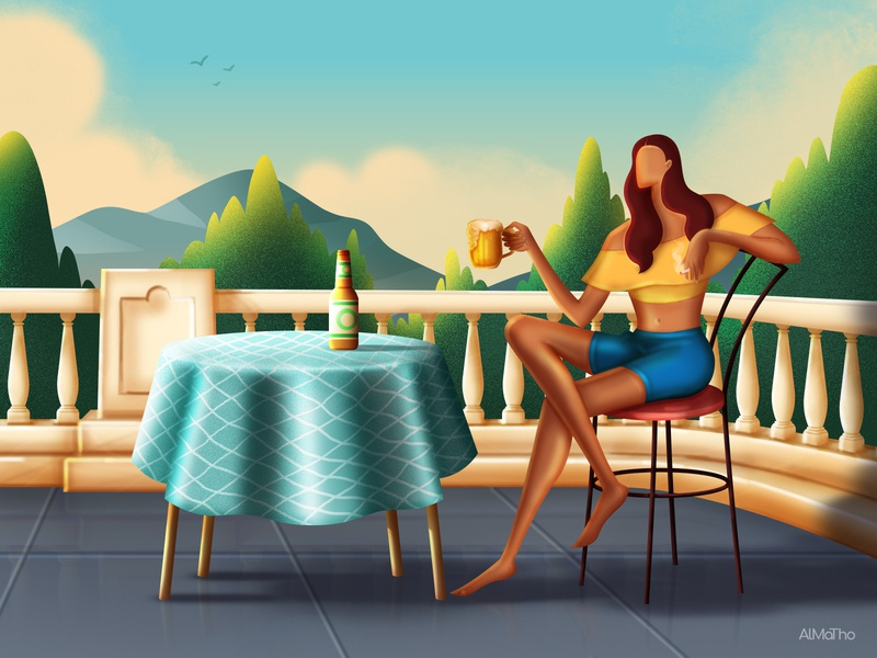 She's at Ease modern solitude beer bottle chilling character design character colours almatho visual woman illustration girl character illustration vector alone nature girl woman