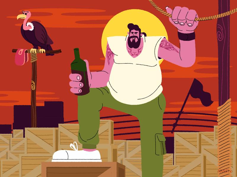 New Gen Pirate drunken vulture captain man lineart pirate almatho character design character vector colours visual illustration