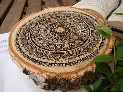 Mandala coffee tray -detail 1 elegant decoration meditation art original zenart relaxation ink geometry zen hand-drawn mandala