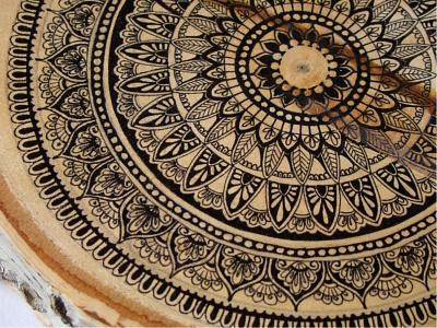Mandala coffee tray -detail 2 elegant decoration meditation art original zenart relaxation ink geometry zen hand-drawn mandala