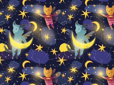 Dreamy fabric vector illustraion kids space fairy tale dream constellation stars seamless pattern moonlight moon cat dog