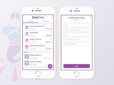 Party app ux vector application calendar form crate party app design ui