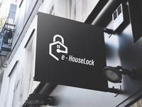 e-House Lock Logo Design