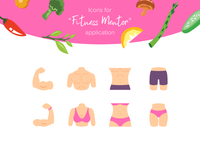 Body Parts icons. Fitness mentor app
