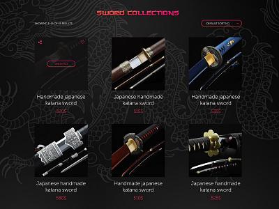 Katana sword shop items UI collections sword katana items shop product cards concept design ui ux