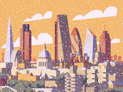 London Winter Cityscape Illustration christmas card christmas skyscrapers skyline winter city illustration cityscape city london architecture illustration