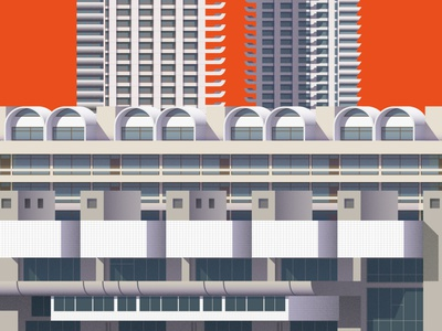 Brutalist Architecture Illustration – Barbican Centre London cityscape city illustration city print illustration london architecture brutalist design brutalism brutalist