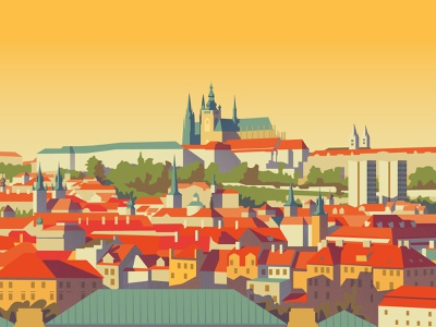 Prague Cityscape Print skyline prague city illustration cityscape city architecture illustration