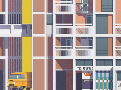 Brutalist Architecture Illustrated – Sheffield's Park Hill Flats poster print architect cityscape brutalist brutalism architecture illustration