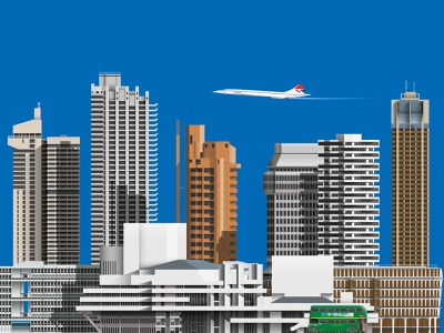 Brutalist London cityscape illustration concorde bus brutalist modern buildings skyline city brutalism cityscape london architecture illustration
