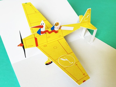 Paper Pop Up Airplane Card creative direct mail airplane gift design illustration papercraft popup paper engineering popup card direct mail