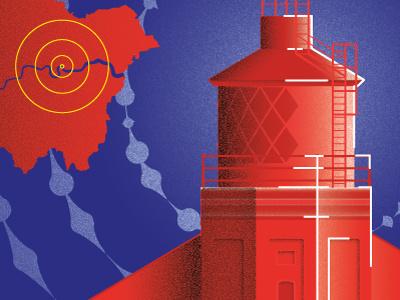 London Lighthouse Illustration architecture art creative london postcard lighthouse illustration longplayer