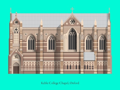 Architecture Illustration of Oxford Keble College keble college blueprint elevation cathedral church chapel illustration college keble oxford architecture