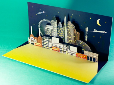 London Xmas Pop Up card - Direct mail xmas card laser cut creative direct mail popup card paper engineering direct mail xmas paper illustration cityscape papercraft london