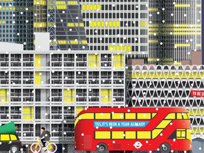London cityscape brutalist bus skyline cityscape skyscrapers cyclist london snow illustration christmas architecture