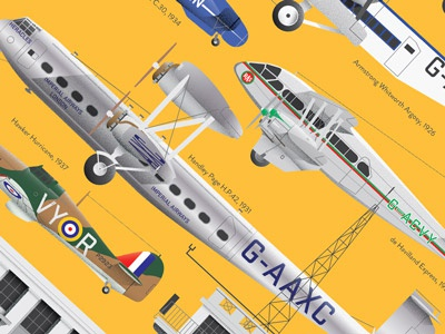 Croydon Airport Poster boac architecture building airterminal terminal artdeco print poster airplane illustration airport croydon