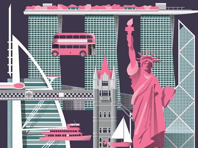 World Landmarks Illustration hong kong buildings architecture illustrations landmarks london nyc illustration