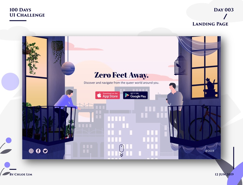 Landing Page - Zero Feet Away grindr 003 queer adobe illustrator gay landingpage ux vector dailyuichallenge ios app dailyui003 web illustration interface design ui dailyui